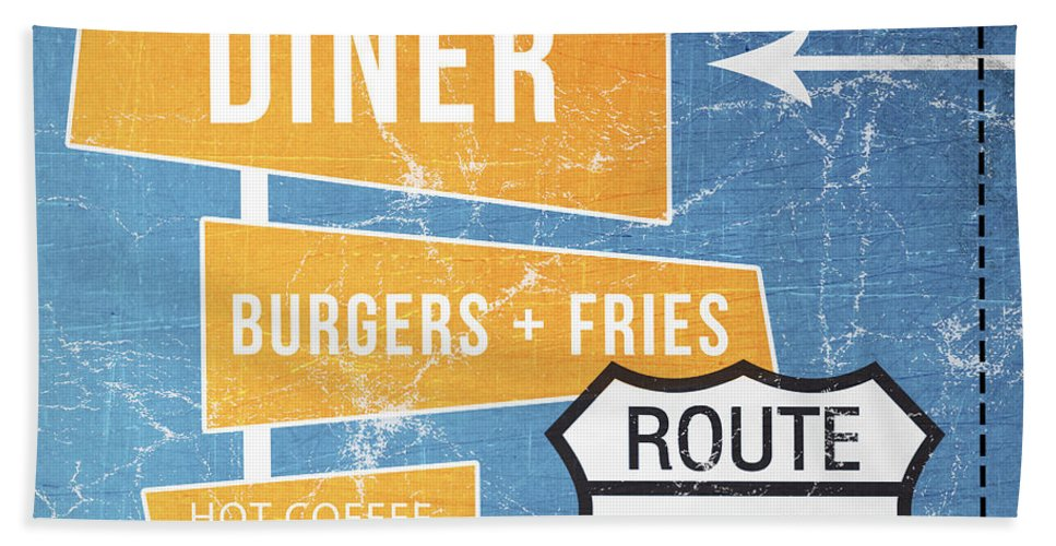 Diner Bath Towel featuring the painting Route 66 Diner by Linda Woods