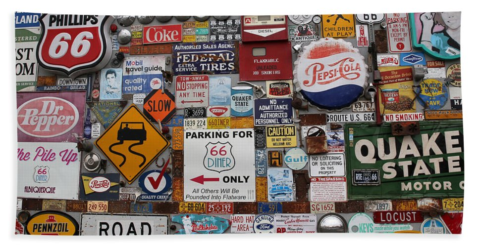 Route 66 Hand Towel featuring the photograph Route 66 Signs by Lynn Sprowl