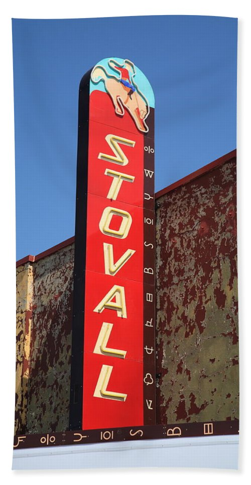66 Bath Towel featuring the photograph Route 66 - Stovall Theater by Frank Romeo