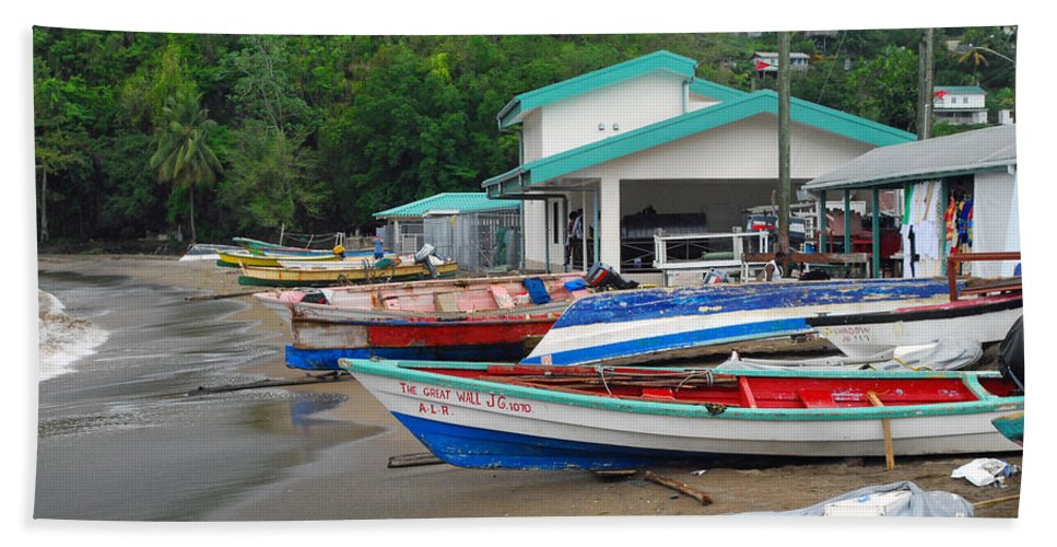 Caribbean Bath Sheet featuring the photograph Row Boats On Beach by Gary Wonning