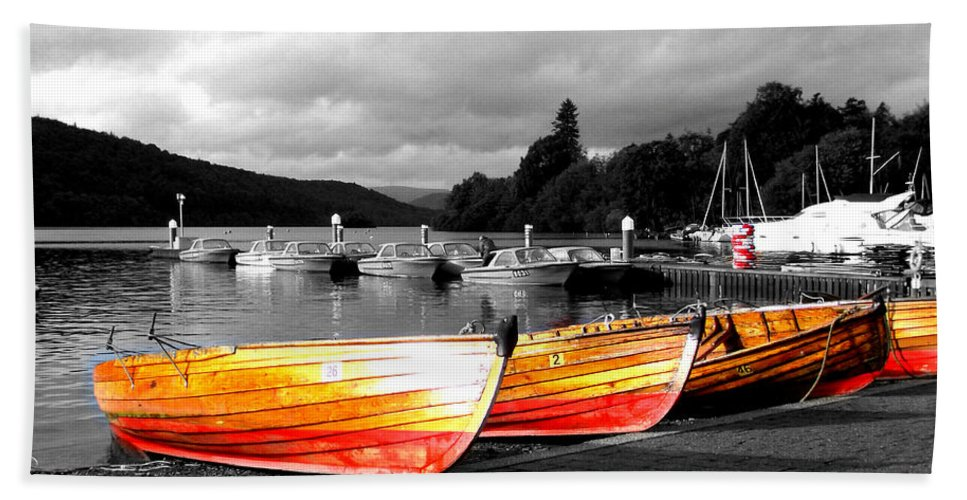 Boat Hand Towel featuring the photograph Rowing Boats Ready For Work by Steve Kearns