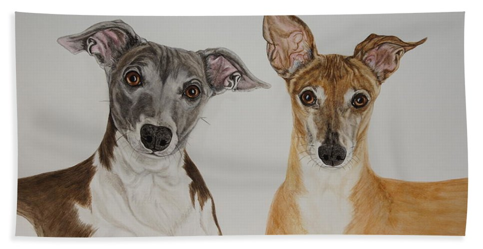 Dogs Bath Sheet featuring the painting Roxie And Bruno The Greyhounds by Megan Cohen
