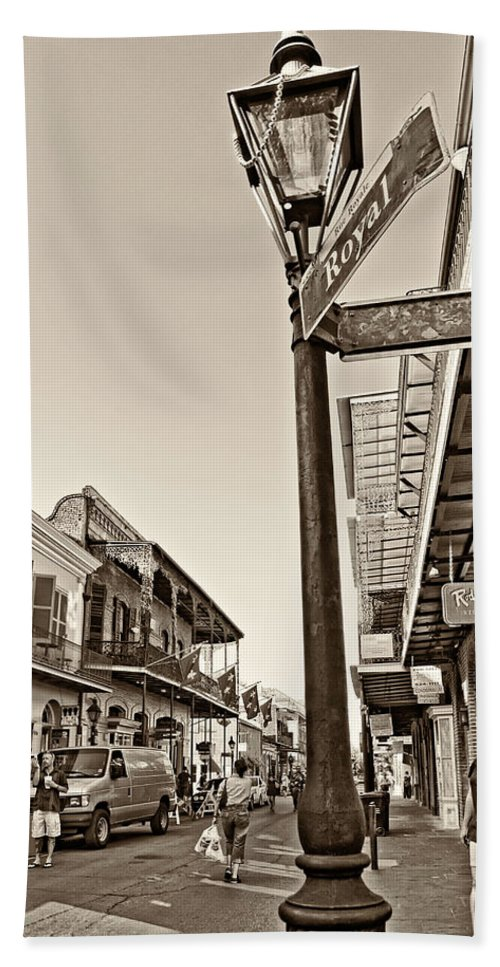 Nola Hand Towel featuring the photograph Royal Afternoon Sepia by Steve Harrington