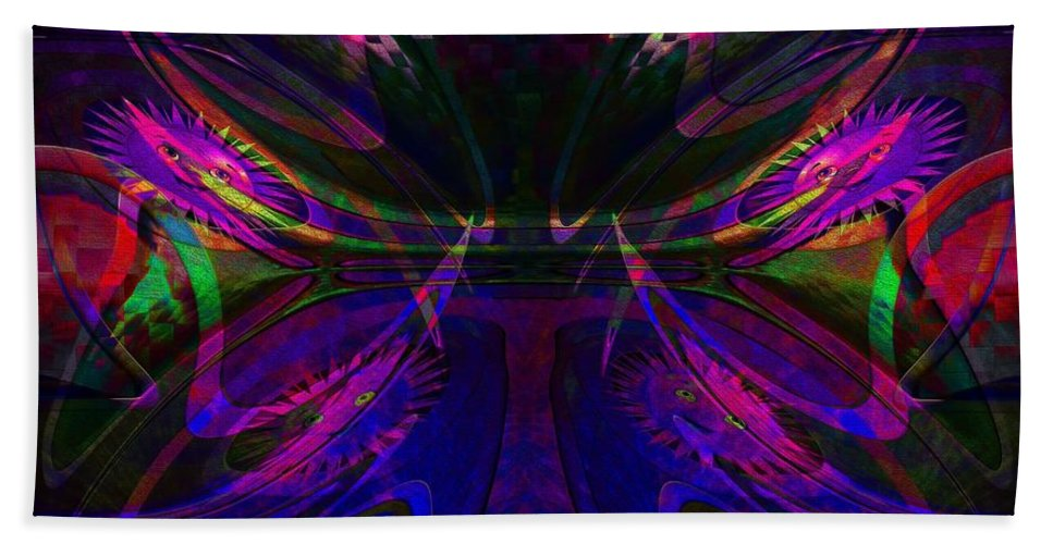 Amethyst Abstract Hand Towel featuring the digital art Royal Blue And Amethyst by Liane Wright