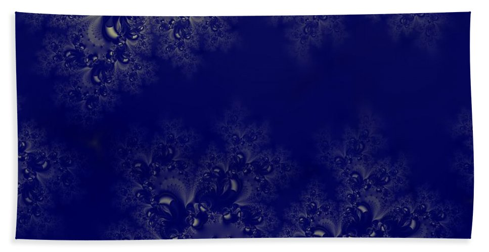 Royal Blue Frost Fractal Hand Towel featuring the digital art Royal Blue Frost Fractal by Rose Santuci-Sofranko