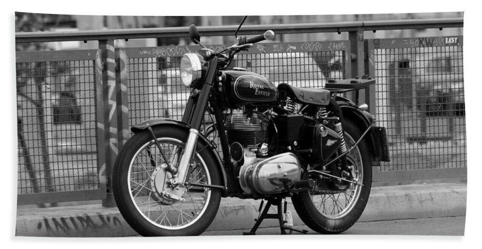 Royal Enfield Motorbike Motorcycle Indian British Bw Sw Bike Photograph Berlin Hand Towel featuring the photograph Royal Enfield Goes Berlin by Steve K