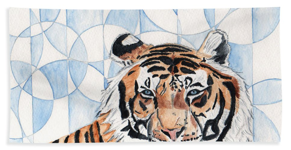 Tiger Hand Towel featuring the painting Royal Mysticism by Crystal Hubbard
