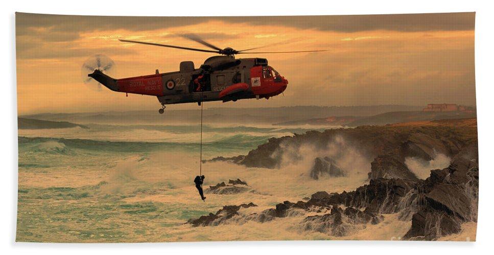 Seaking Bath Sheet featuring the digital art Royal Navy Rescue by J Biggadike