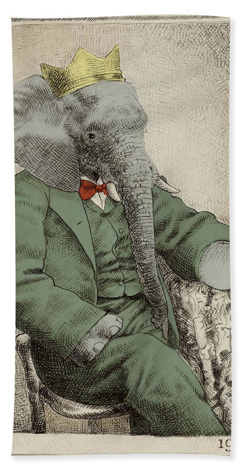 Elephant Bath Towel featuring the drawing Royal Portrait by Eric Fan