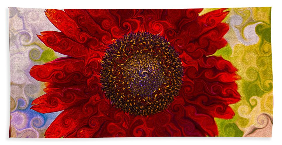 Abstract Hand Towel featuring the painting Royal Red Sunflower by Omaste Witkowski