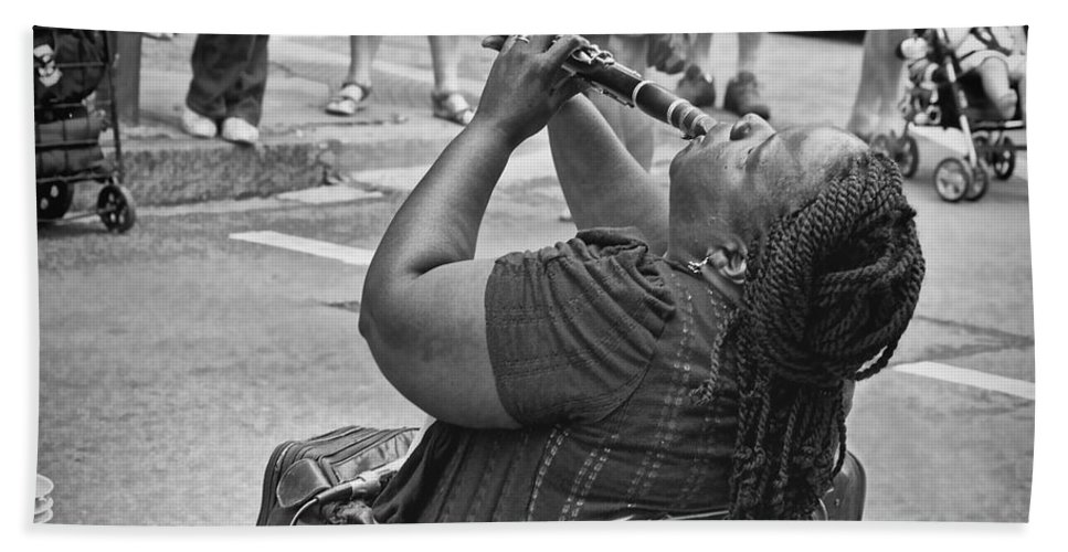 Clarinet Bath Sheet featuring the photograph Royal Street Clarinet Player New Orleans by Kathleen K Parker