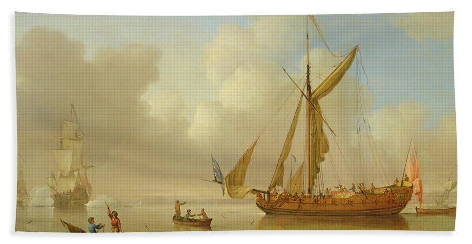 Sails; British Flag; Crew; Ship; Boat; Sailing; Maritime; Seascape; Rowing; Anchored; Calm Hand Towel featuring the painting Royal Yacht Becalmed At Anchor by Peter Monamy