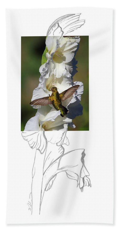 Ruby-throated Hummingbird Hand Towel featuring the photograph Ruby-throated Hummingbird 2am-104192 by Andrew McInnes