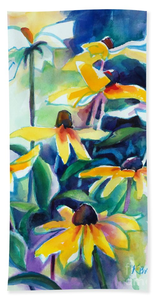 Painting Hand Towel featuring the painting Rudbecki And Teal by Kathy Braud