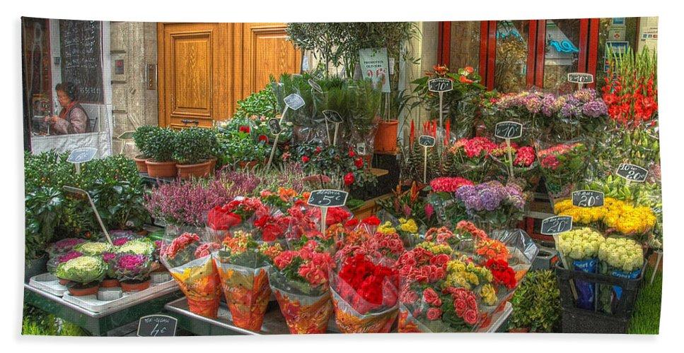Paris Bath Sheet featuring the photograph Rue Cler Flower Shop by Michael Kirk