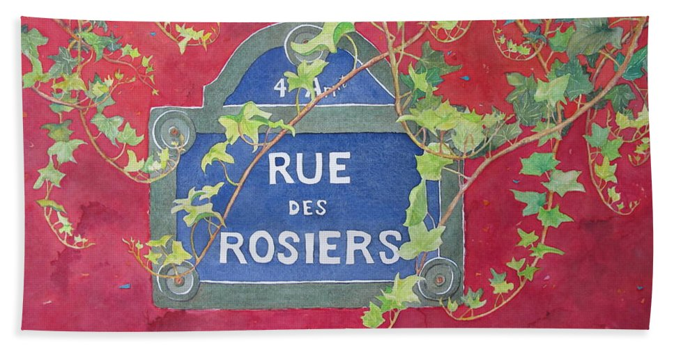 Red Wall Bath Towel featuring the painting Rue Des Rosiers In Paris by Mary Ellen Mueller Legault