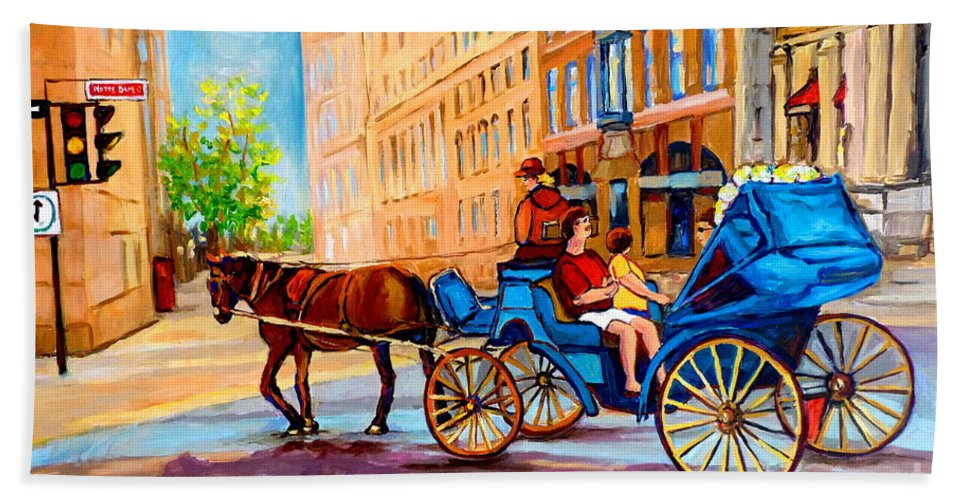 Rue Notre Dame Bath Towel featuring the painting Rue Notre Dame Caleche Ride by Carole Spandau