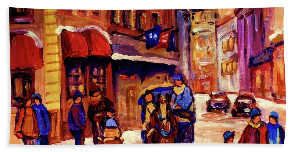 Montreal Hand Towel featuring the painting Rue St. Paul Old Montreal Streetscene In Winter by Carole Spandau