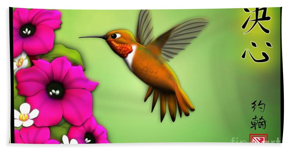 Rufus Hummingbird Art Hand Towel featuring the digital art Rufus Hummingbird by John Wills