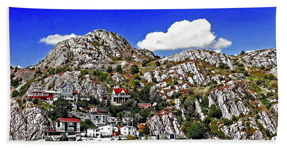 Rugged Cliffside Village Hand Towel featuring the painting Rugged Cliffside Village Digital Painting by Barbara Griffin