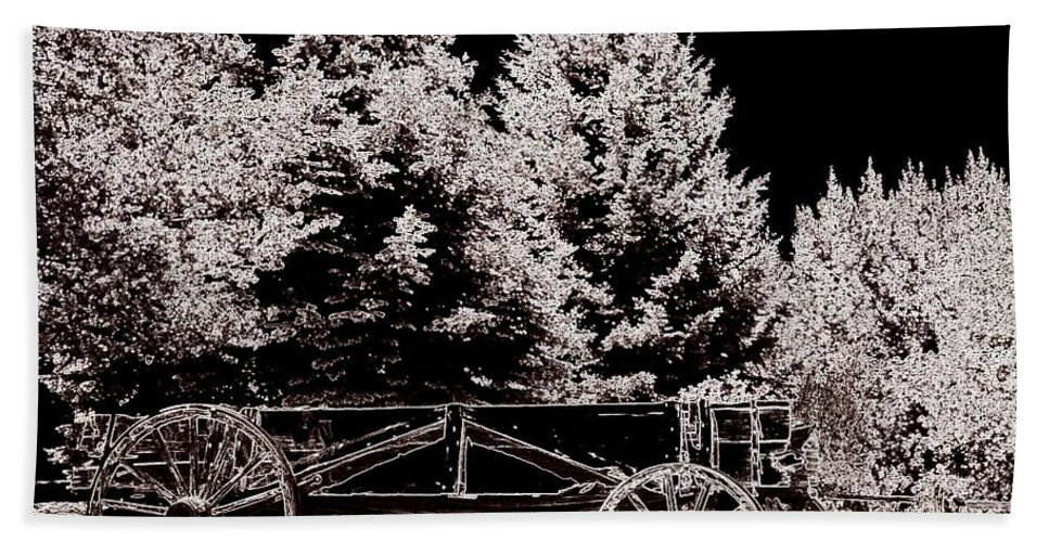 Wagon Hand Towel featuring the digital art Rugged Trails by Bobbee Rickard
