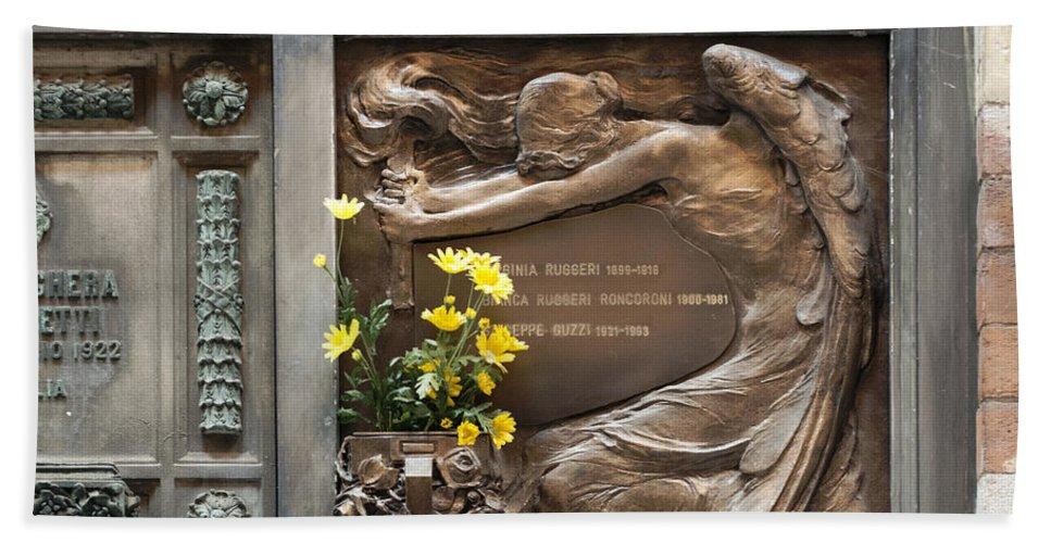 Horizontal Bath Sheet featuring the photograph Ruggeri Roncoroni Guzzi Grave Marker Monumental Cemetery Milan by Sally Rockefeller