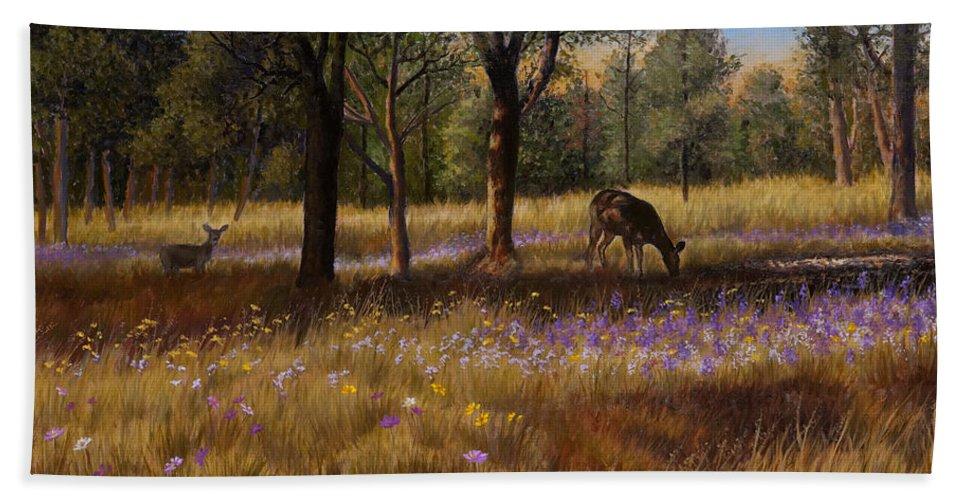 Ruidoso New Mexico Bath Sheet featuring the painting Ruidoso Morning by Abel DeLaRosa