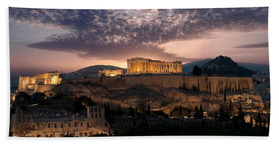 Photography Hand Towel featuring the photograph Ruins Of A Temple, Athens, Attica by Panoramic Images