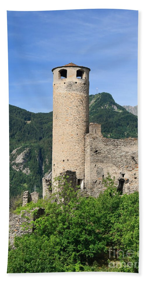 Alps Hand Towel featuring the photograph ruins of Chatelard castle by Antonio Scarpi