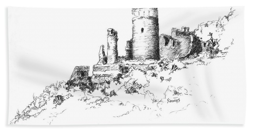 Castle Hand Towel featuring the drawing Ruins Of Furstenburg Castle by Sam Sidders