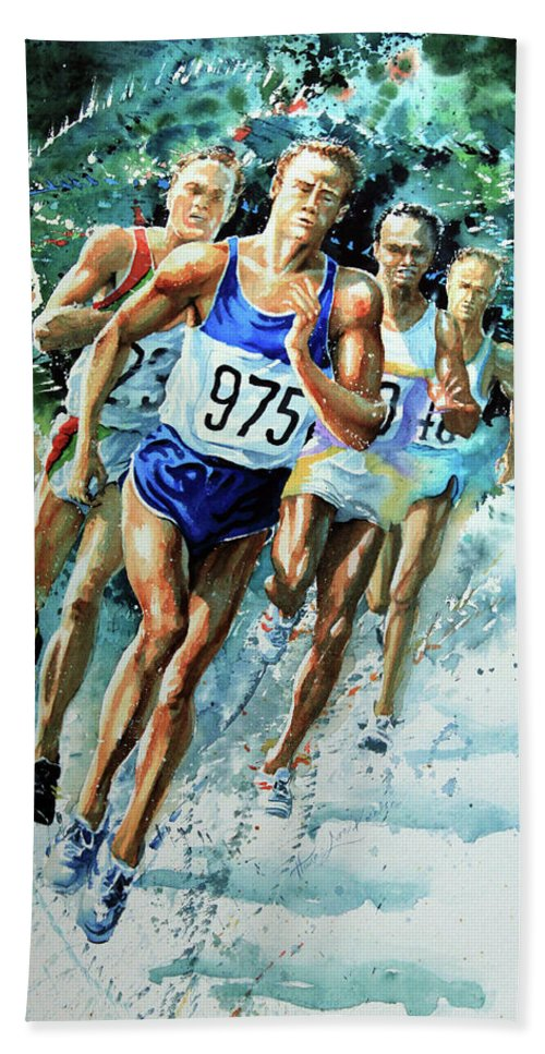 Sports Artist Bath Sheet featuring the painting Run For Gold by Hanne Lore Koehler