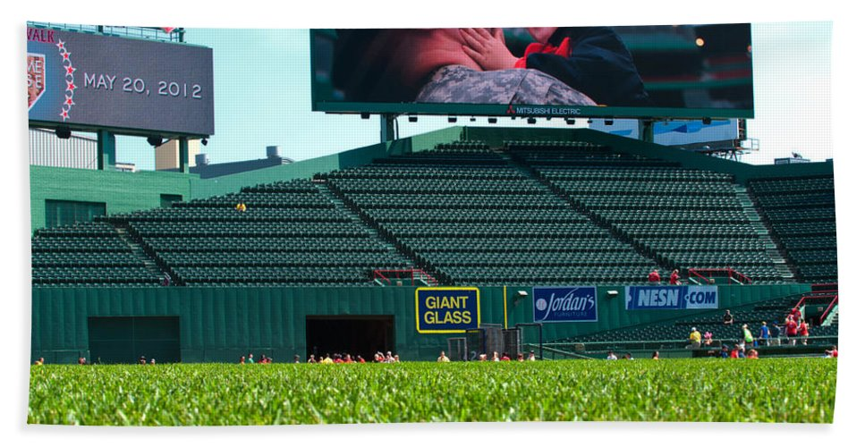 fenway Park Hand Towel featuring the Run To Home Base 2012 by Paul Mangold
