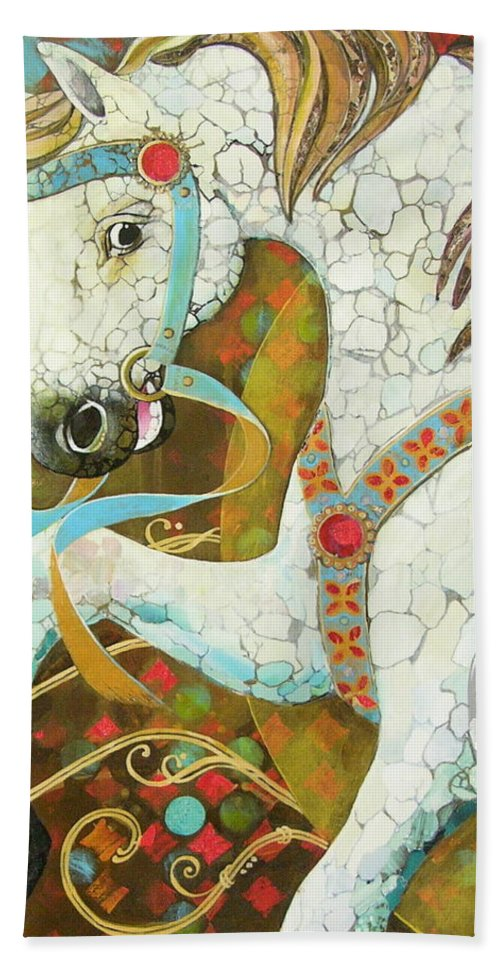 Rocking Horse Hand Towel featuring the mixed media Runaway Rocker by Robin Birrell