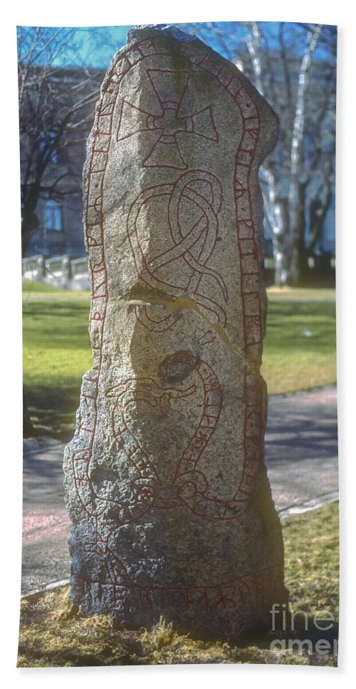 Runestone Runestones Uppsala Sweden Decorated Stones Stone Odds And Ends Hand Towel featuring the photograph Runestone by Bob Phillips
