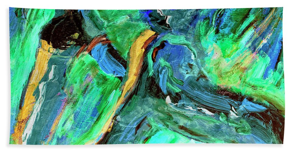 Abstract Bath Sheet featuring the painting Runners by Dominic Piperata