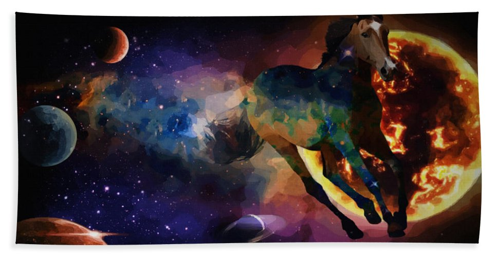 Canvas Prints Hand Towel featuring the digital art Running Horse Creation by Joseph Juvenal
