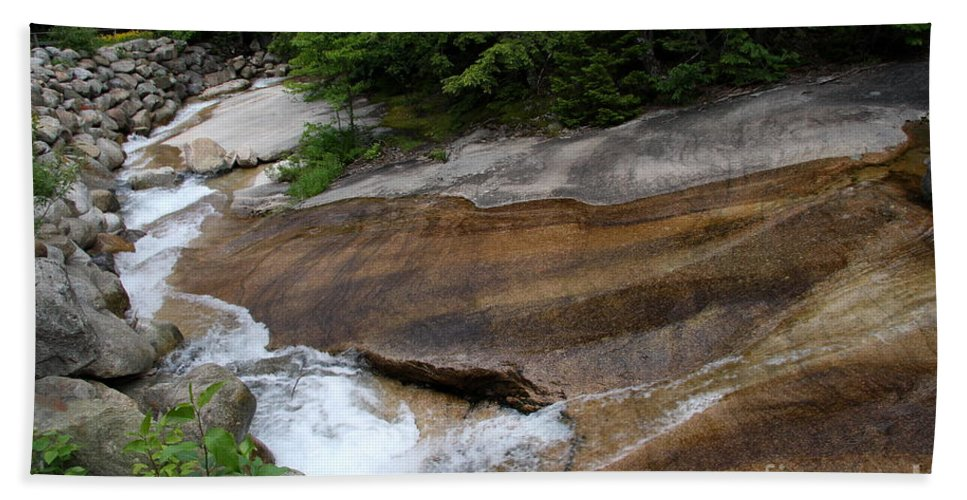 Pemigewasset River Hand Towel featuring the photograph Running Over Granite by Christiane Schulze Art And Photography
