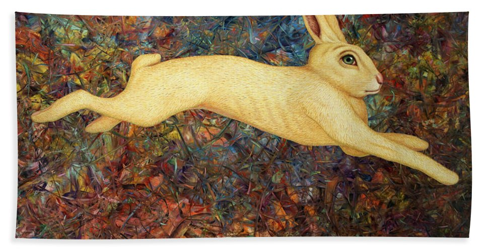 Rabbit Bath Towel featuring the painting Running Rabbit by James W Johnson