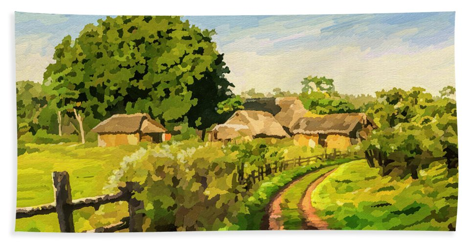 Countryside Bath Sheet featuring the painting Rural Home by Anthony Mwangi