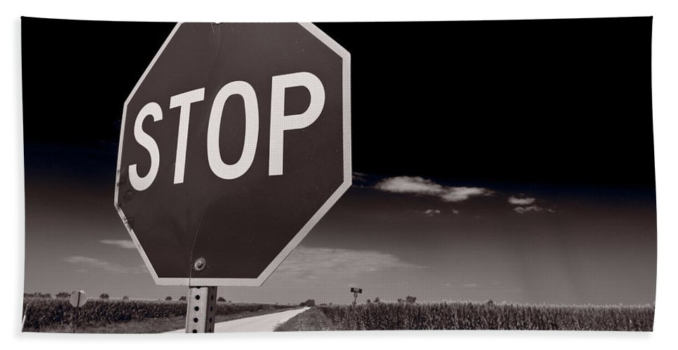 Sign Bath Sheet featuring the photograph Rural Stop Sign Bw by Steve Gadomski