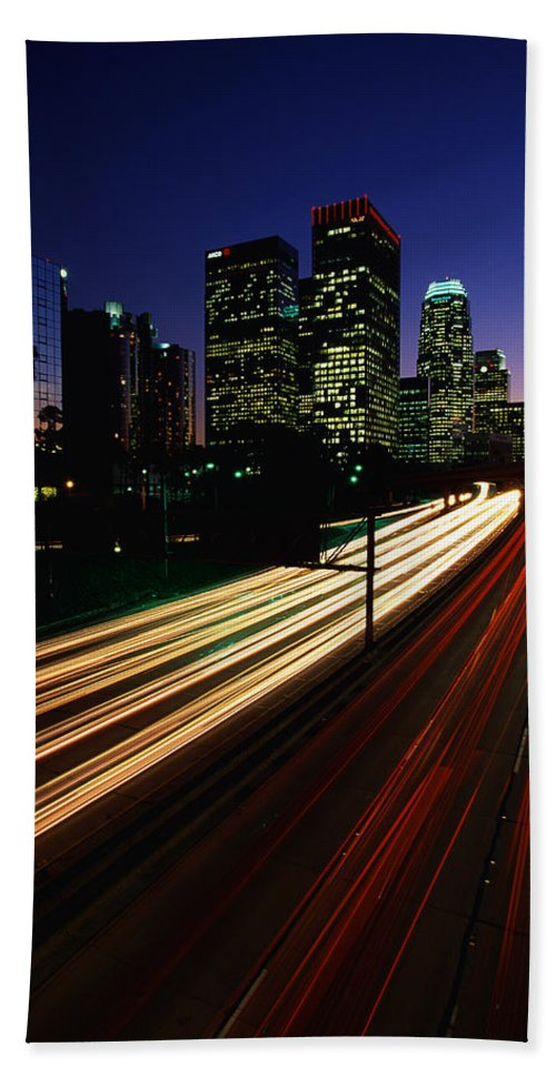 Photography Hand Towel featuring the photograph Rush Hour Harbor Freeway Los Angeles Ca by Panoramic Images
