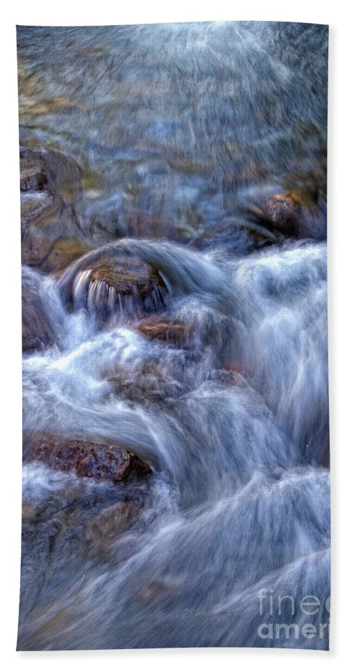 Rushing Stream Hand Towel featuring the photograph Rushing Stream by Frank Welder