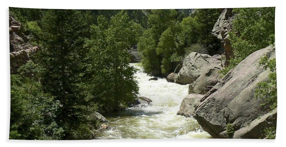 Water Hand Towel featuring the photograph Rushing Water In Boulder Canyon by Rincon Road Photography By Ben Petersen