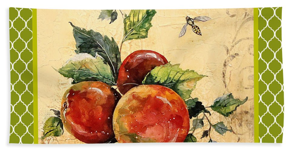 Acrylic Painting Hand Towel featuring the painting Rustic Apples On Moroccan by Jean Plout