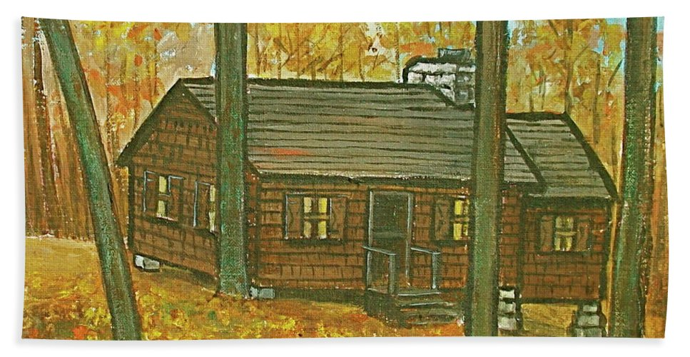 Brown Trees Cabin Fall Colors Hand Towel featuring the painting Rustic Cabin At Lake Hope Ohio by Frank Hunter