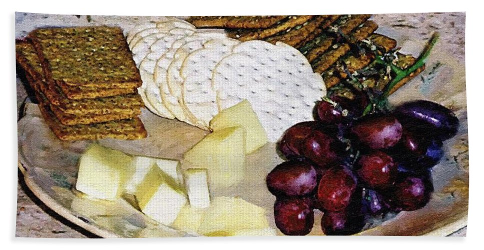 Cheese Hand Towel featuring the painting Rustic Repast by RC DeWinter