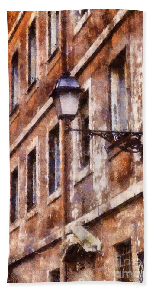 Shutters Bath Sheet featuring the digital art Rustic Rome Apartments by Sophie McAulay