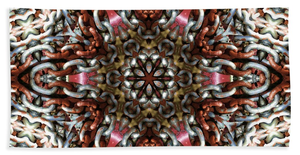 Kaleidoscope Bath Sheet featuring the photograph Rusty Chain Link Kaleido by Kathy Clark