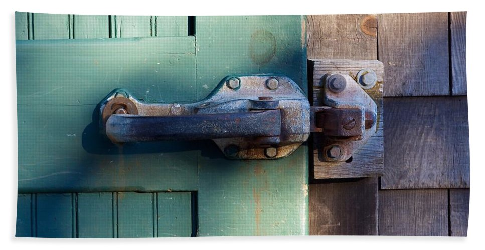 Latch Hand Towel featuring the photograph Rusty Door Latch by Stuart Litoff
