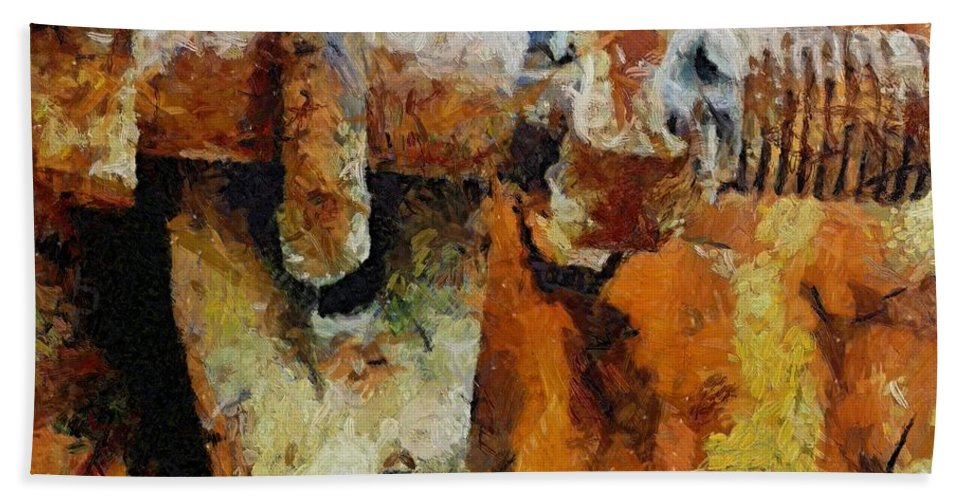 Gate Hand Towel featuring the painting Rusty Gate by Dragica Micki Fortuna
